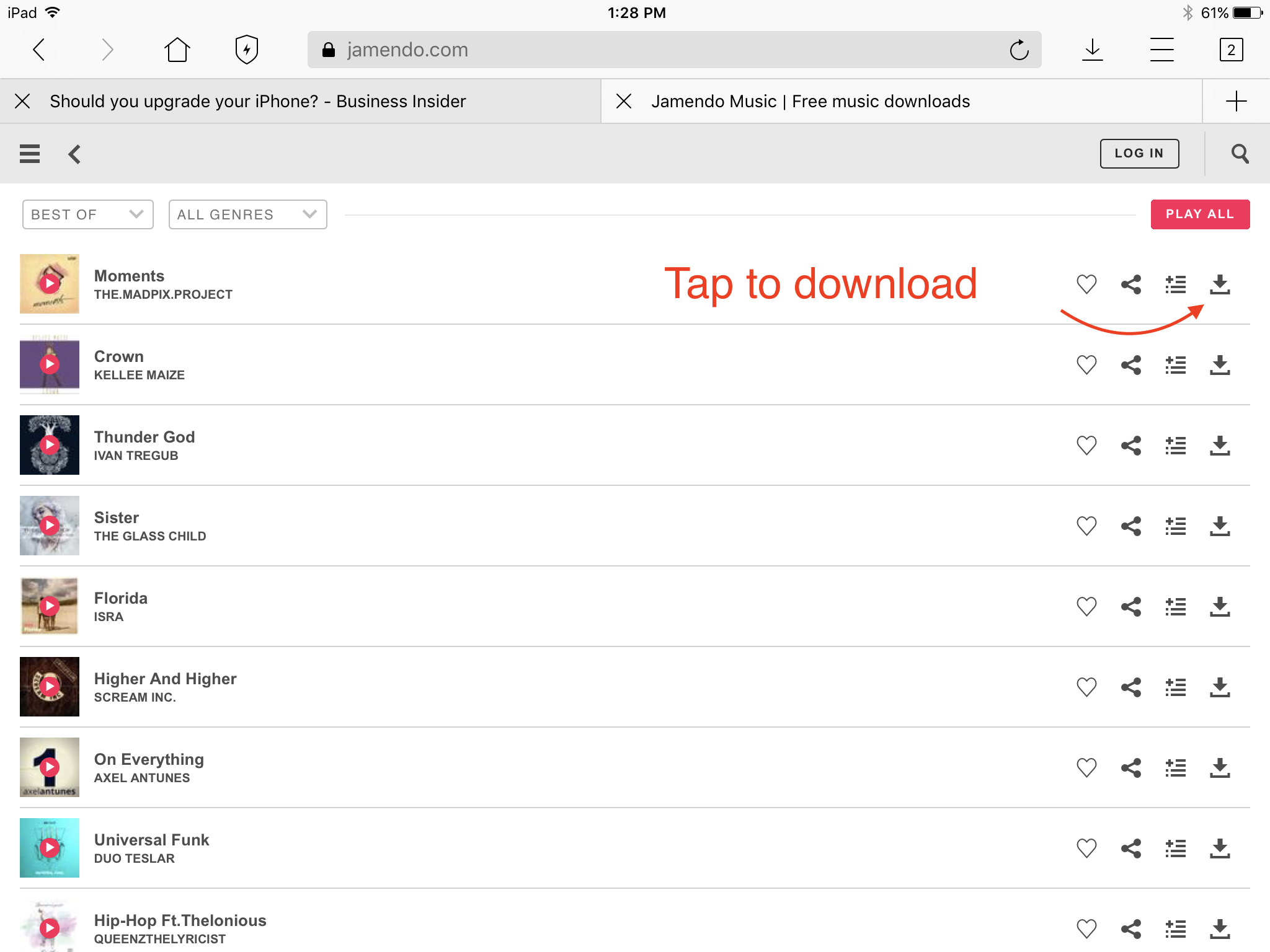 How to download music and audio files? | iPad Version